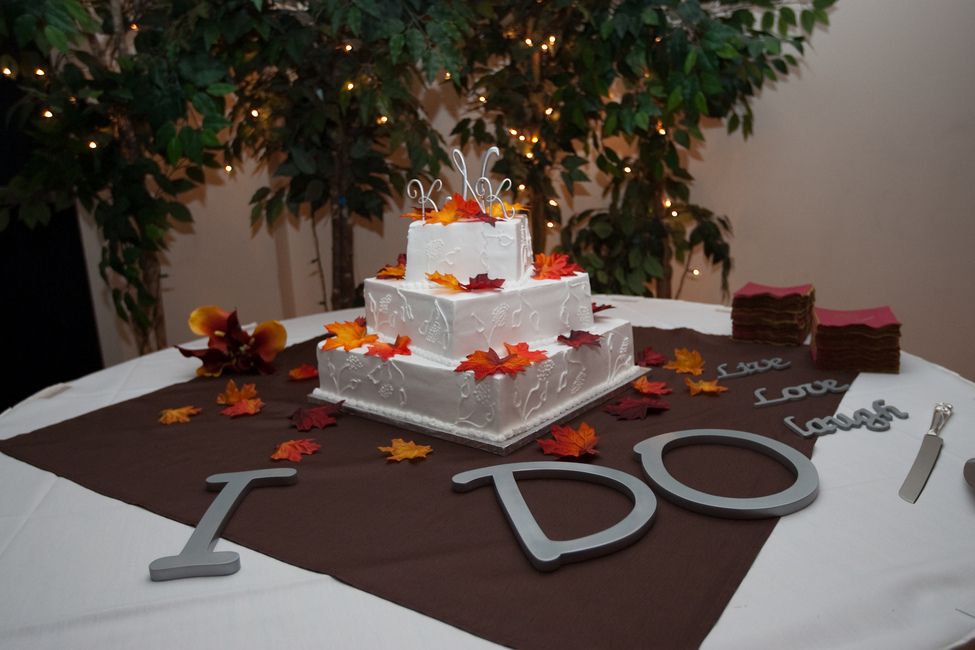Picture of a wedding cake from a reception at Madison Turners