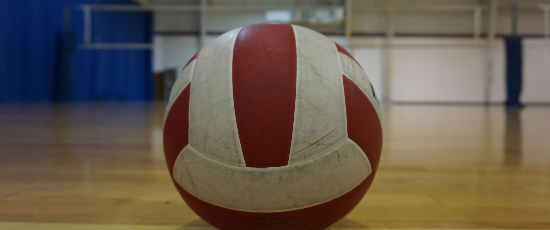 A picture of a volleyball on Madison Turners' volleyball court with the net out of focus in the background